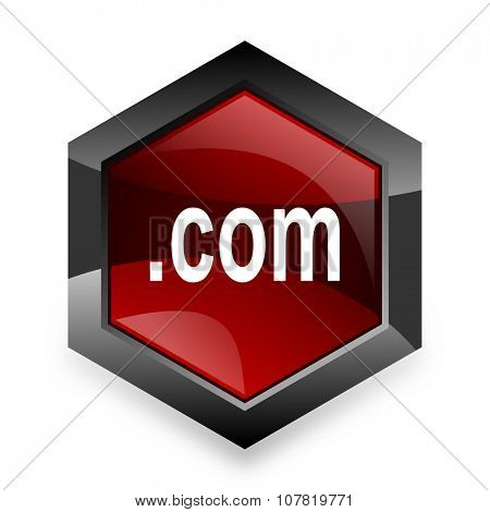 com red hexagon 3d modern design icon on white background