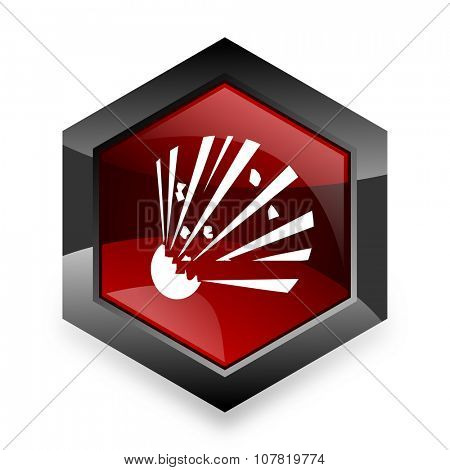 bomb red hexagon 3d modern design icon on white background