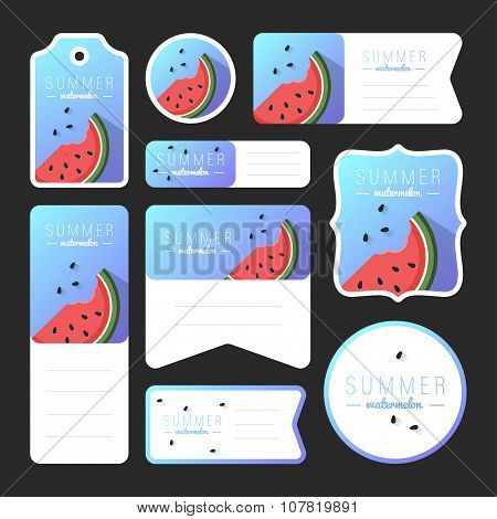 Collection Of Summer Watermelon Cards, Notes, Stickers, Labels, Tags With Cute Ornament Illustration