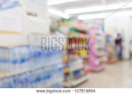 Blur Motion Of Supermarket Product Shelf, Business Concept.