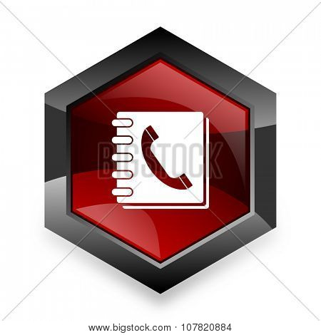 phonebook red hexagon 3d modern design icon on white background
