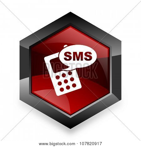 sms red hexagon 3d modern design icon on white background