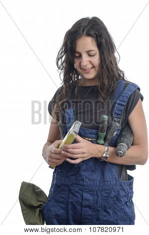 Worker Woman With Overalls And Drill.