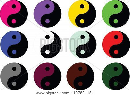 Yin Yang Colored Symbol