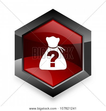 riddle red hexagon 3d modern design icon on white background