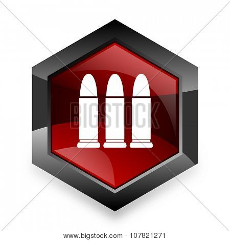 ammunition red hexagon 3d modern design icon on white background
