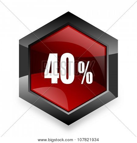 40 percent red hexagon 3d modern design icon on white background