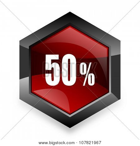 50 percent red hexagon 3d modern design icon on white background