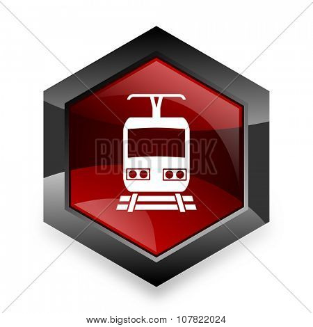 train red hexagon 3d modern design icon on white background