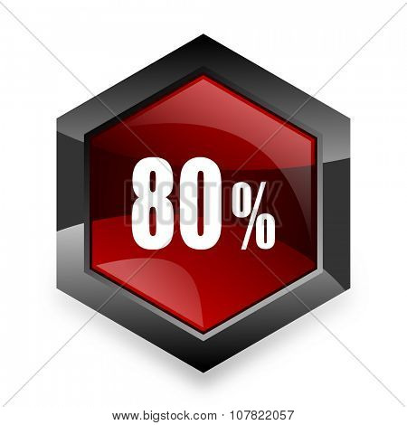 80 percent red hexagon 3d modern design icon on white background