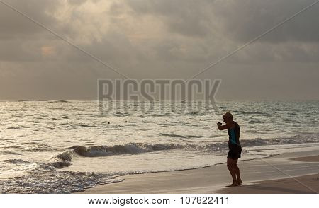 PUNTA CANA, DOMINICAN REPUBLIC - OCTOBER 2th 2015: mature unknown woman does fitness training on the