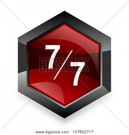 7 per 7 red hexagon 3d modern design icon on white background