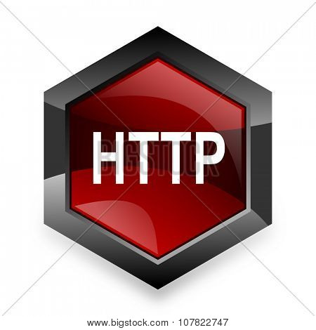 http red hexagon 3d modern design icon on white background
