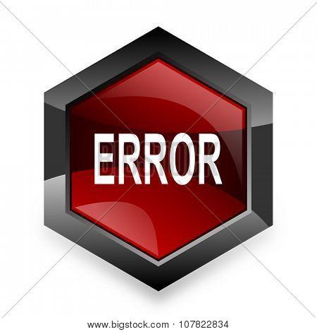 error red hexagon 3d modern design icon on white background