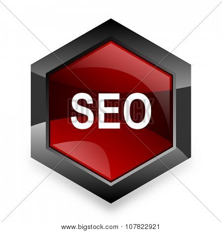 seo red hexagon 3d modern design icon on white background