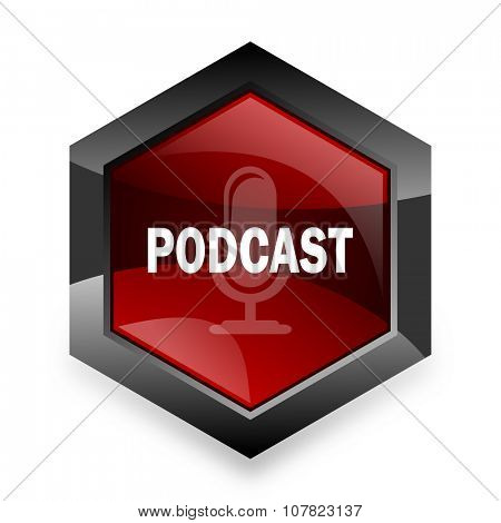 podcast red hexagon 3d modern design icon on white background