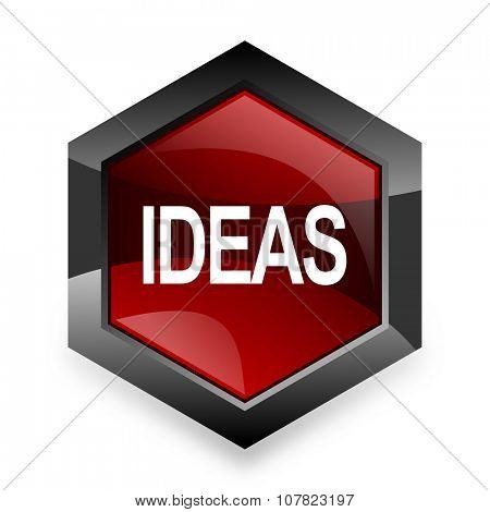 ideas red hexagon 3d modern design icon on white background