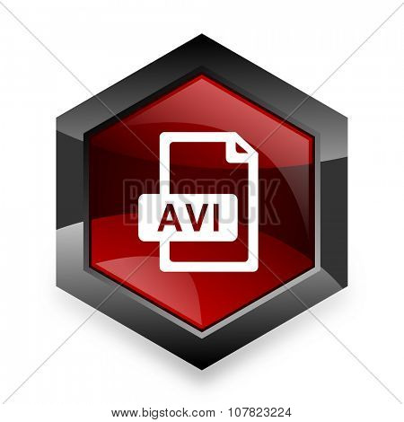 avi file red hexagon 3d modern design icon on white background