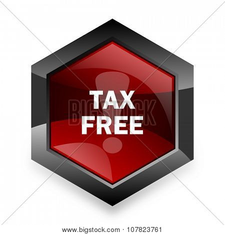 tax free red hexagon 3d modern design icon on white background