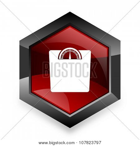 weight red hexagon 3d modern design icon on white background
