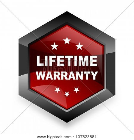 lifetime warranty red hexagon 3d modern design icon on white background