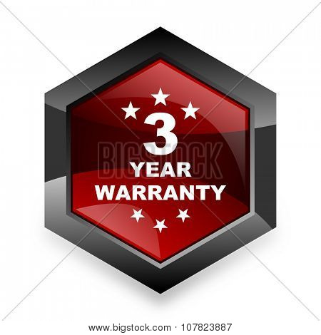 warranty guarantee 3 year red hexagon 3d modern design icon on white background
