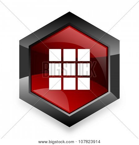 thumbnails grid red hexagon 3d modern design icon on white background