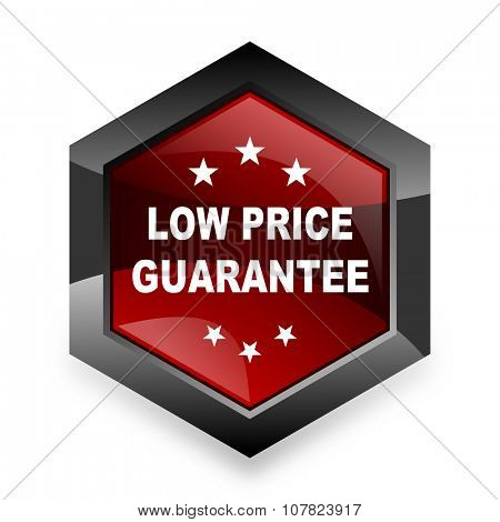 low price guarantee red hexagon 3d modern design icon on white background