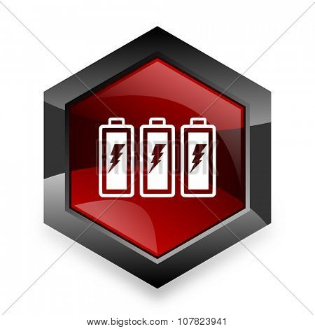 battery red hexagon 3d modern design icon on white background