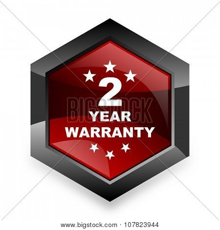 warranty guarantee 2 year red hexagon 3d modern design icon on white background