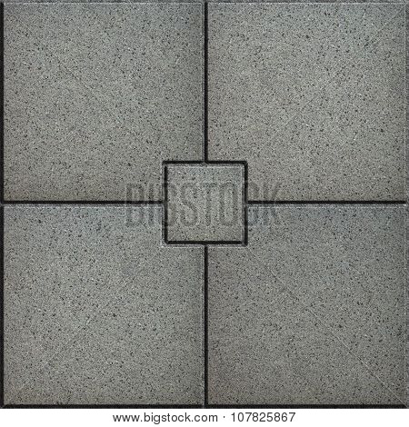 Gray Paving Slabs in the form of Small Brick Surrounded Four Large Square.