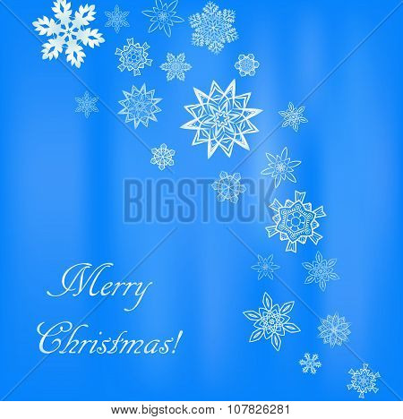 Christmas light blue square background with snowflakes