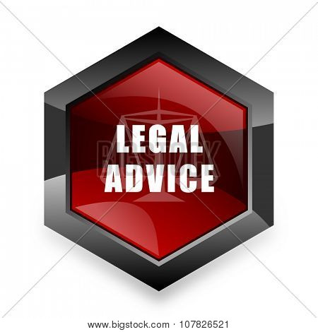 legal advice red hexagon 3d modern design icon on white background