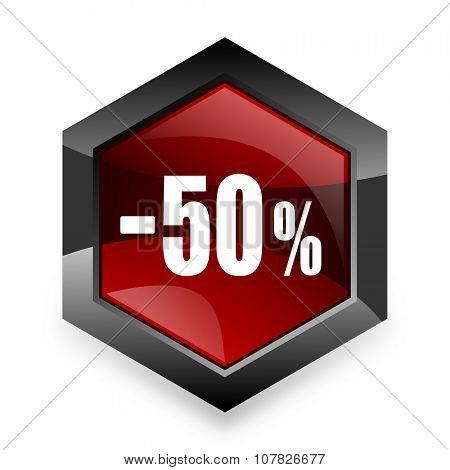 50 percent sale retail red hexagon 3d modern design icon on white background
