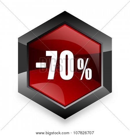 70 percent sale retail red hexagon 3d modern design icon on white background