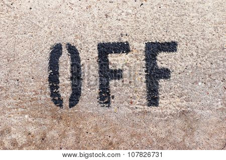 OFF letters typography font on the marbel wall