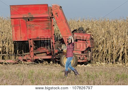 Farmer Girl On Corn Field