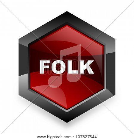 folk music red hexagon 3d modern design icon on white background