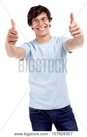 Young hispanic man wearing glasses, blue t-shirt and jeans showing thumb up hand gesture with both hands and smiling isolated on white background - success concept