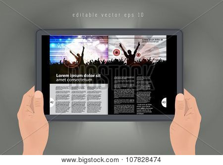 Layout e-magazine. Editable vector