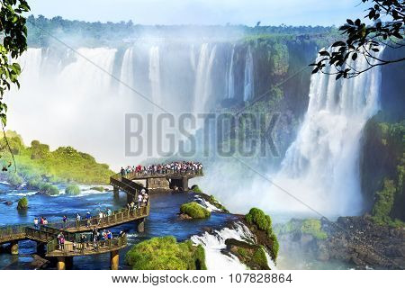 Iguazu Falls, On The Border Of Argentina And Brazil