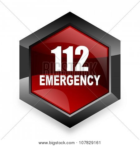 number emergency 112 red hexagon 3d modern design icon on white background