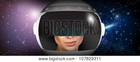 Astronaut woman with helmet