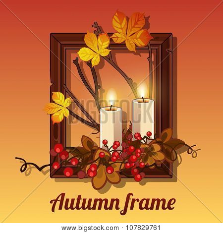 Autumn still life in a frame for picture