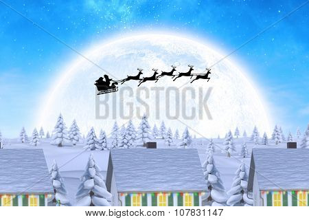 Silhouette of santa claus and reindeer against winter village