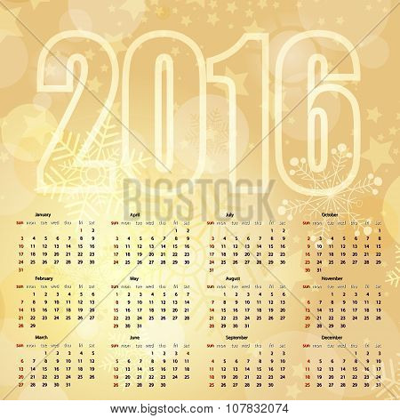 2016 New Year Gold Calendar