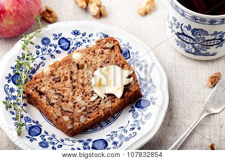 Apple, walnut cake, loaf, bread with fresh apples