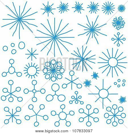 Collection Abstract Snow Flakes
