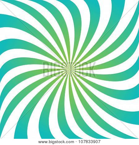 Cyan and green swirling ray vortex background