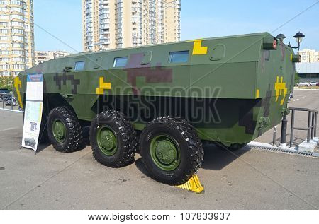 KIEV, UKRAINE - September 23, 2015:Improvised armored fighting vehicle for Civil War.
